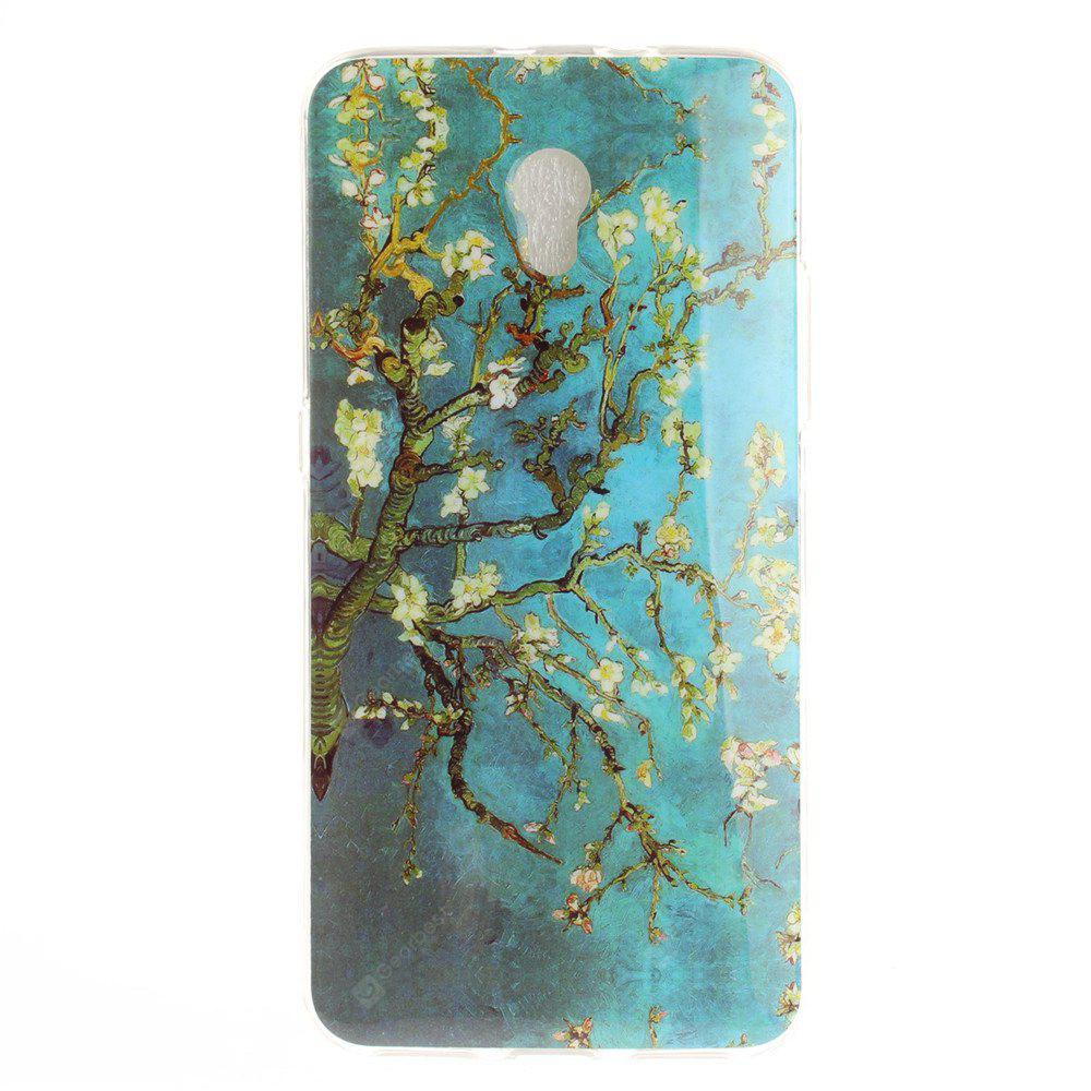 Apricot Blossom Pattern Soft Clear IMD TPU Phone Casing Mobile Smartphone Cover Shell Case for ZTE Blade V7