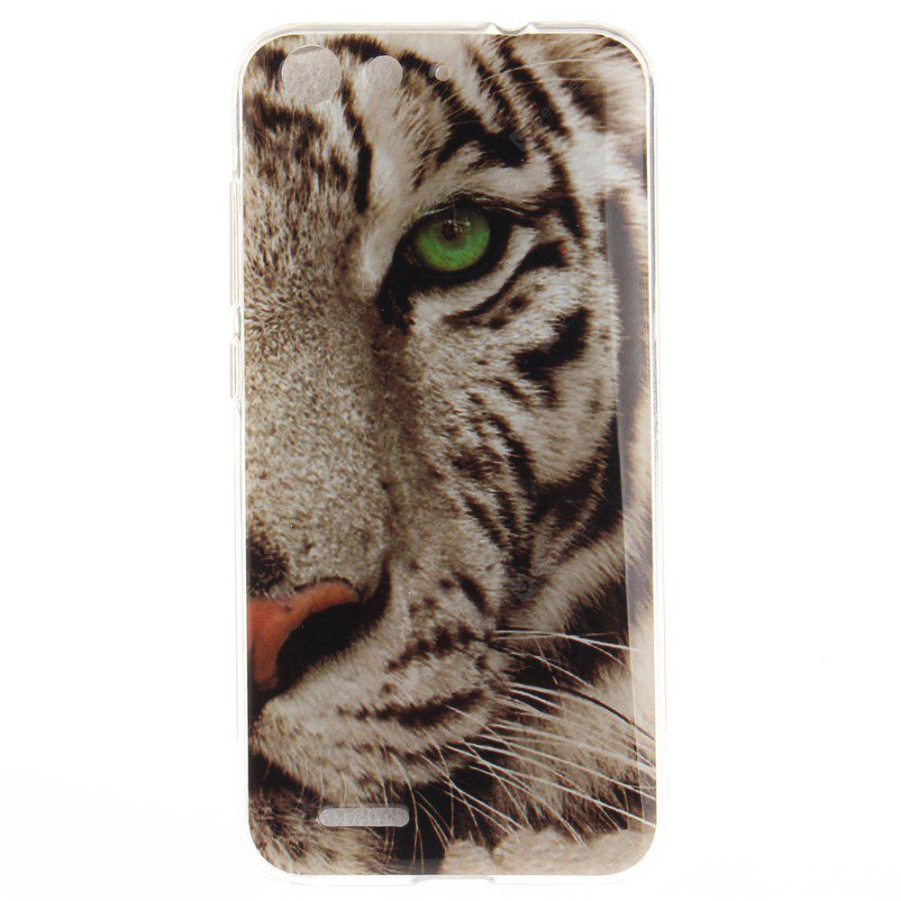 The Tiger Pattern Soft Clear IMD TPU Phone Casing Mobile Smartphone Cover Shell Case for ZTE Blade X7 Z7 D6 V6