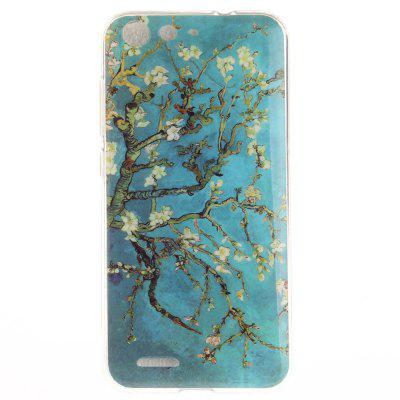 Apricot Blossom Soft Clear IMD TPU Phone Casing Mobile Smartphone Cover Shell Case for ZTE Blade X7 Z7 D6 V6