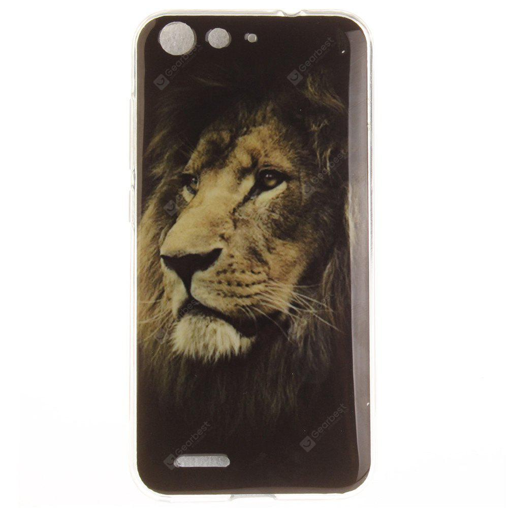 The Lion Pattern Soft Clear IMD TPU Phone Casing Mobile Smartphone Cover Shell Case for ZTE Blade X7 Z7 D6 V6