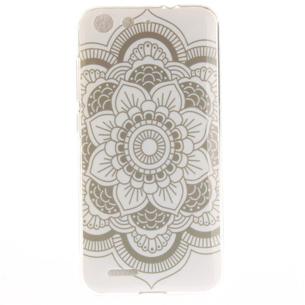 Big White Flower Soft Clear IMD TPU Phone Casing Mobile Smartphone Cover Shell Case for ZTE Blade X7 Z7 D6 V6