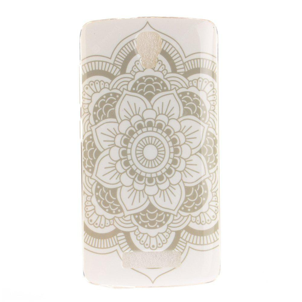 Big White Flower Soft Clear IMD TPU Phone Casing Mobile Smartphone Cover Shell Case for ZTE Blade L5 Plus