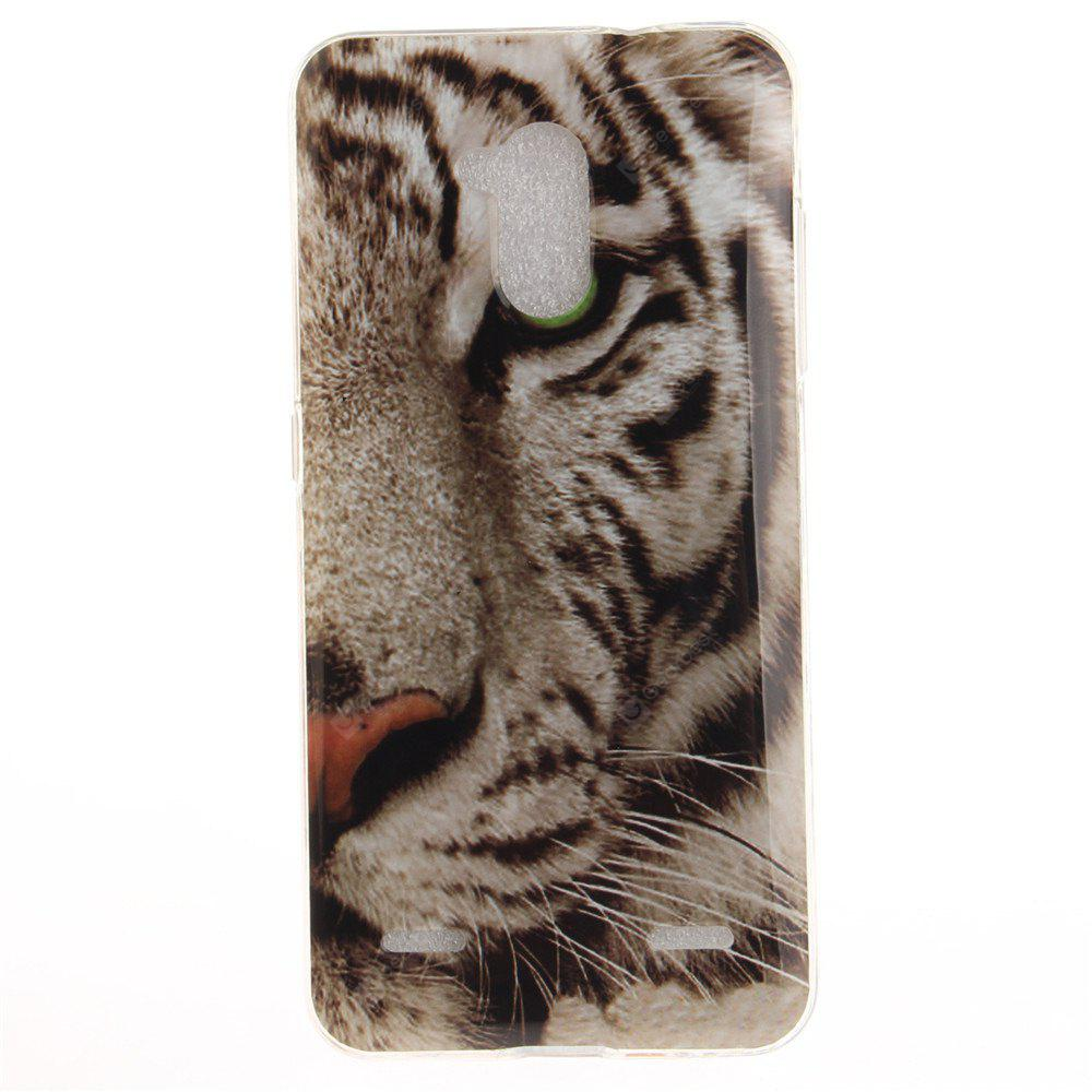 The Tiger Pattern Soft Clear IMD TPU Phone Casing Mobile Smartphone Cover Shell Case for ZTE Blade V7 Lite