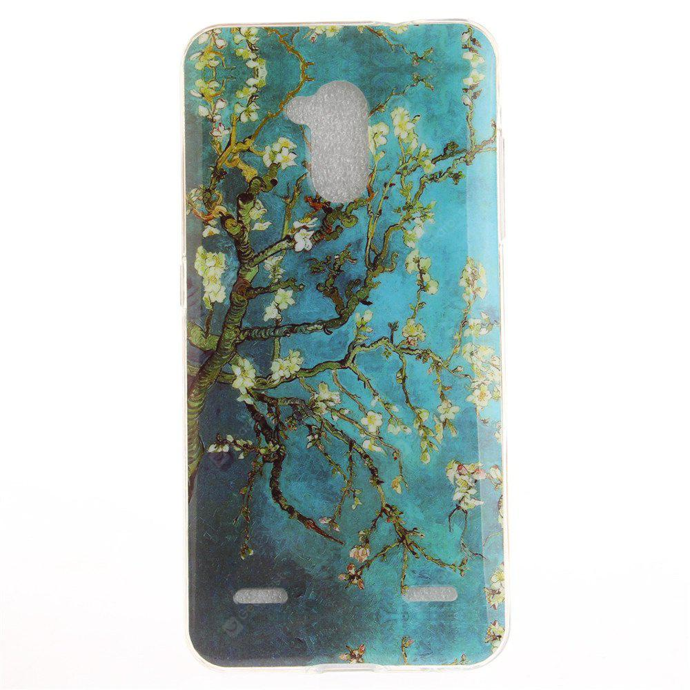 Apricot Blossom Pattern Soft Clear IMD TPU Phone Casing Mobile Smartphone Cover Shell Case for ZTE Blade V7 Lite