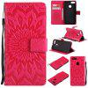 Sun Flower Printing Design Pu Leather Flip Wallet Lanyard Protective Case for Xiaomi Mi 5X - RED