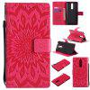 Sun Flower Printing Design Pu Leather Flip Wallet Lanyard Protective Case for Nokia 8 - RED