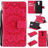Sun Flower Printing Design Pu Leather Flip Wallet Lanyard Protective Case for Nokia 9 - RED