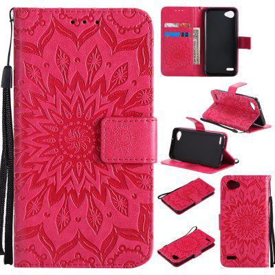 Sun Flower Printing Design Pu Leather Flip Wallet Lanyard Protective Case for LG Q6 / G6 Mini