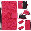 Sun Flower Printing Design Pu Leather Flip Wallet Lanyard Protective Case for LG Q6 / G6 Mini - RED