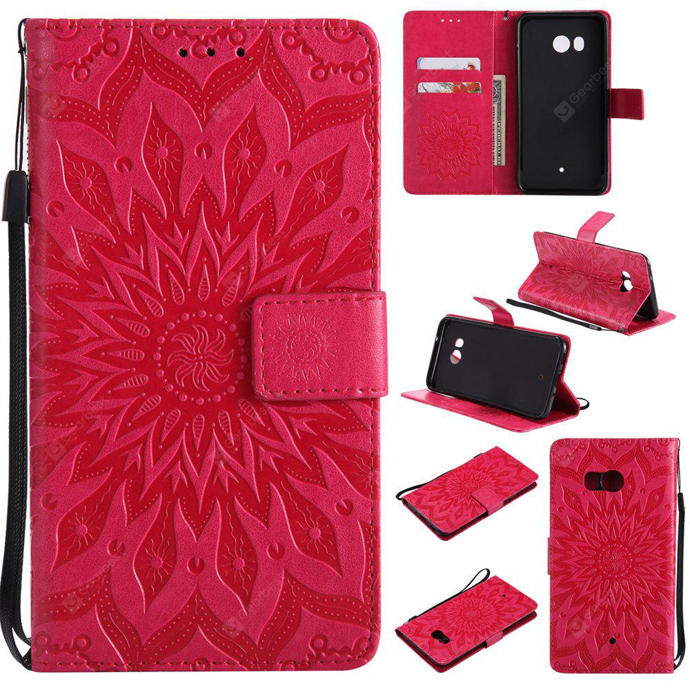 Sun Flower Printing Design Pu Leather Flip Wallet Lanyard Protective Case for HTC U11
