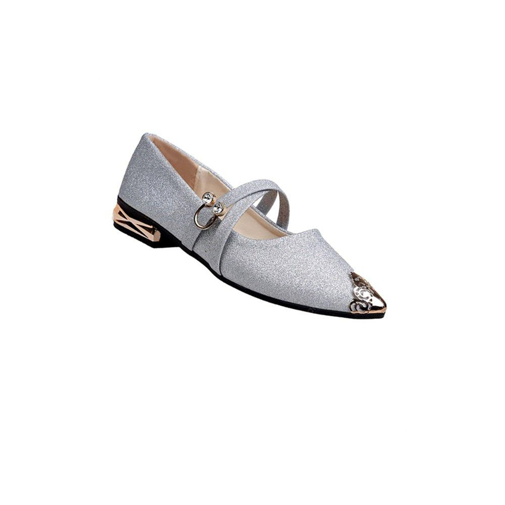 BS-628Top Low Heel Metal Trim Single Shoe