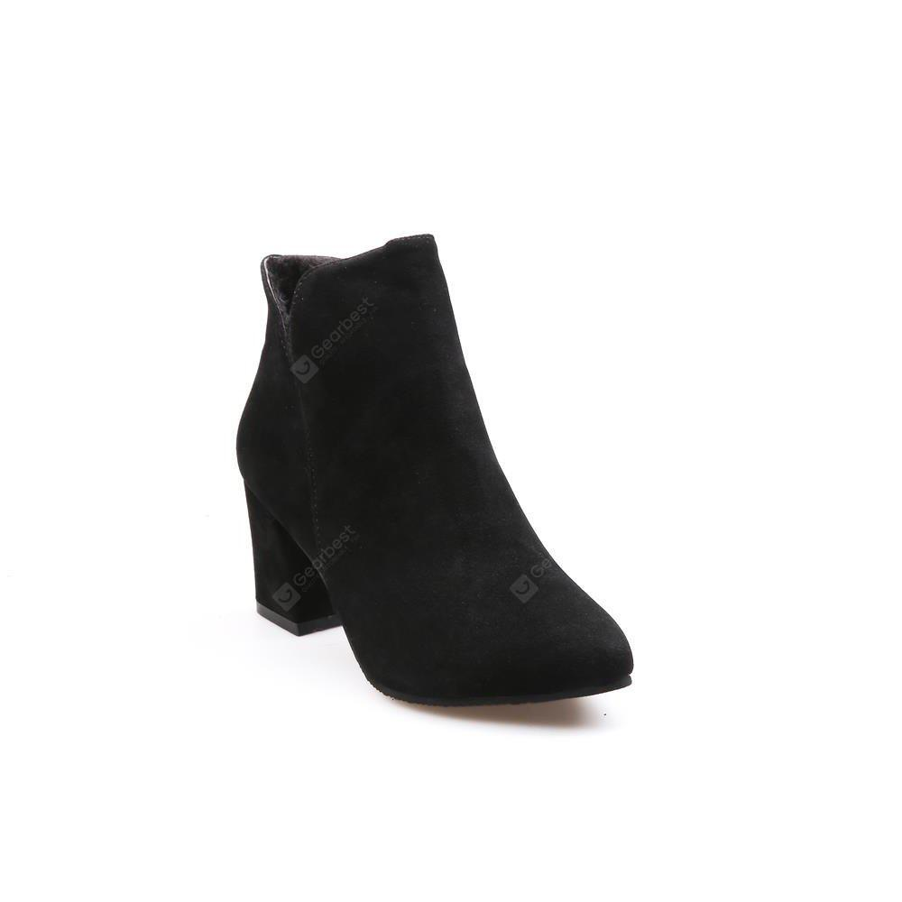 MS-885 Head Suede Side Zipper High Rough Heel Martin Boots