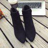 MS-885 Head Suede Side Zipper High Rough Heel Martin Boots - BLACK