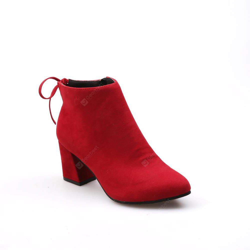 MS-880 Top Suede Bow Side Zipper High Rough Heel Martin Boots