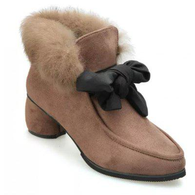 Autumn and Winter Pointed Rabbit Hair Bowknot Shoes