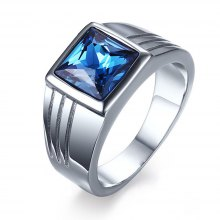 Fashion Popular Jewelry Blue Diamond Stainless Steel Men's Ring
