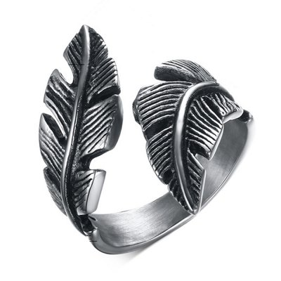 Stainless Steel Feathers Casting Ring Tide Card Personalized Jewelry