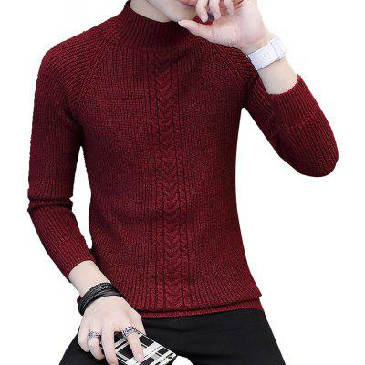 Suéter de los hombres de color sólido Slim All Match Fashion Casual Sweater