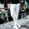 Men's Casual Pants Comfy Drawstring Fashion Color Block All Match Pants - WHITE