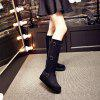Round Thick Slope with Fashion Belt Buckle Wild High Boots - BLACK