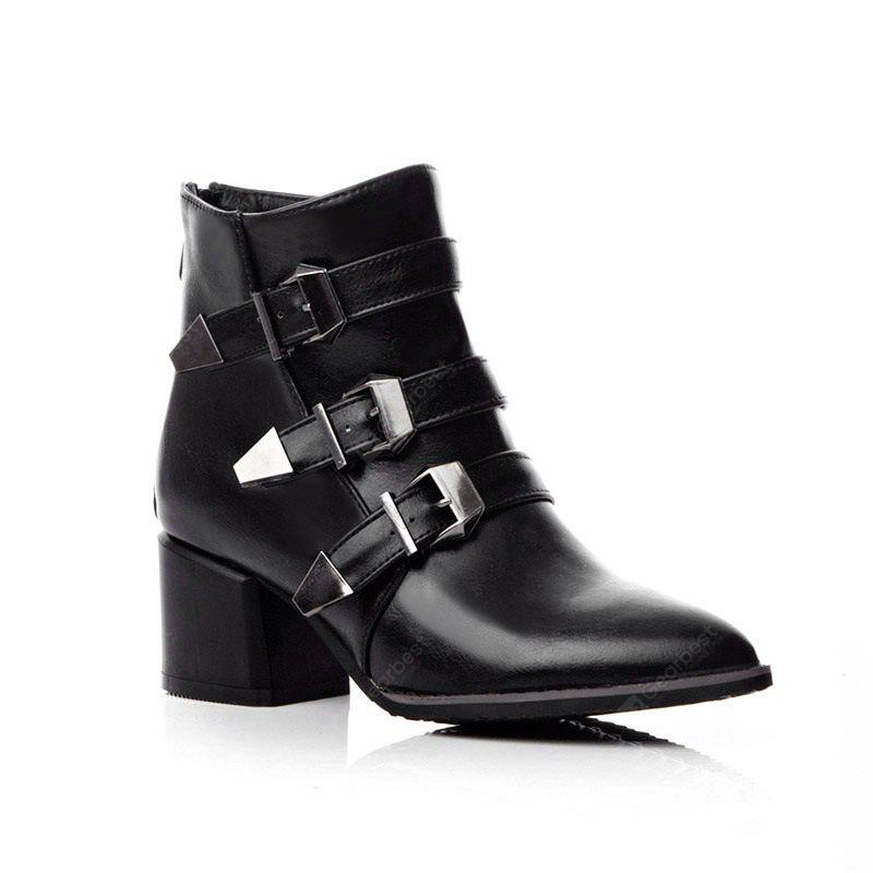 Pointed with The Rough with Fashion Belt Buckle Short Boots