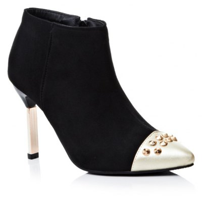 Pointed with High-Heeled Sexy Mixed Color Bare Boots
