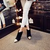 Pointed with High-Heeled Sexy Mixed Color Bare Boots - BLACK