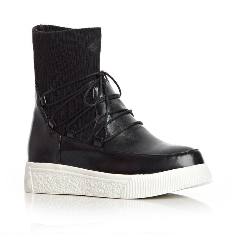 Round Thick Bottom Slope with All-Match Tie Short Boots