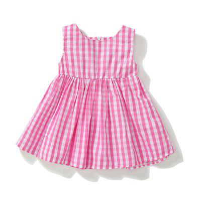 Summer Newborn Infant Dress Plaid Zipper Baby Girl Clothes For 0 24