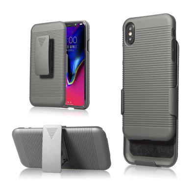 2 em 1 Striation Rugged Armor Shockproof Stand Hard Case Cinturão Clip Holster Cover para Iphone X