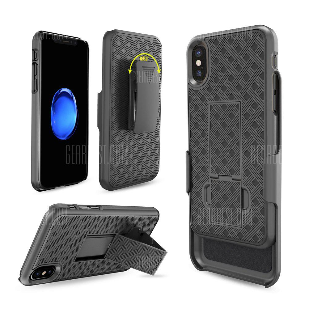 Woven Pattern Rugged Armor Shockproof Stand Hard Case Belt Clip Holster Cover for Iphone X