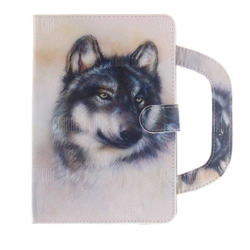 Leather Protective Case White Wolf Pattern with A Hand for iPad Mini 1 / 2 / 3