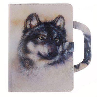 Leather Protective Case White Wolf with A Hand for iPad Mini 4