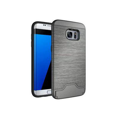 2 in 1 Hybrid Wire Drawing Armor PC +TPU Case With Stand Card Holder for Samsung Galaxy S7 Edge