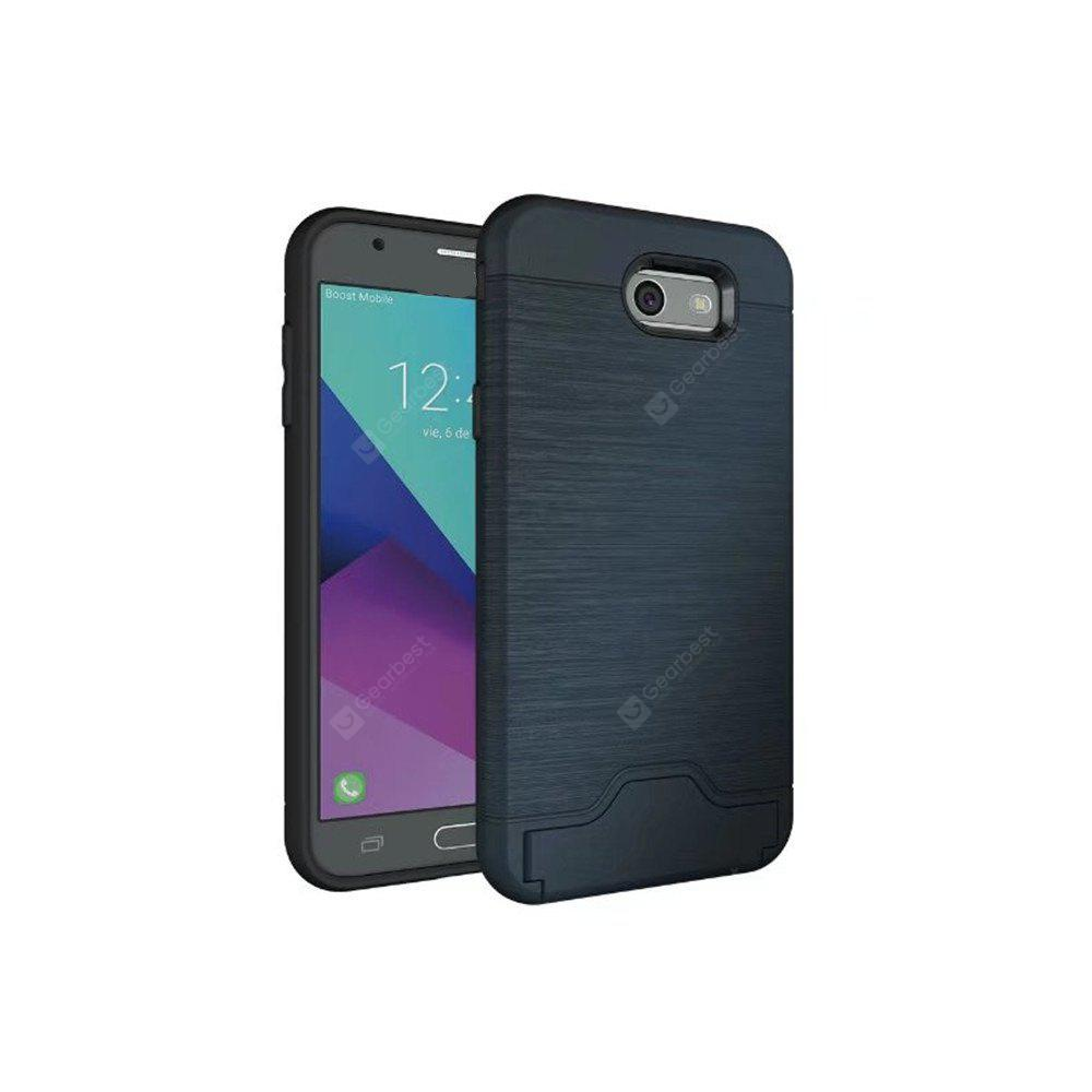 2 in 1 Hybrid Wire Drawing Armor PC +TPU Case With Stand Card Holder for Samsung Galaxy J7 2017