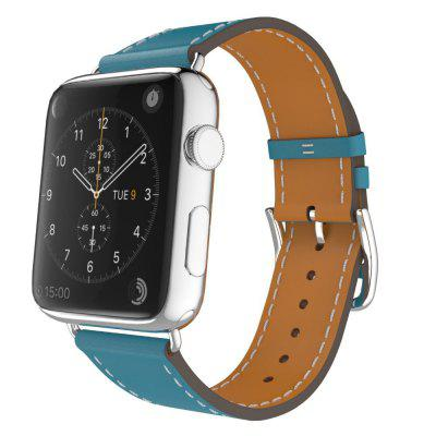 For Apple Watch Band Leather Blue Luxury Genuine Watchband Bracelet Replacement Wrist Band with Adapter Clasp for IWatch