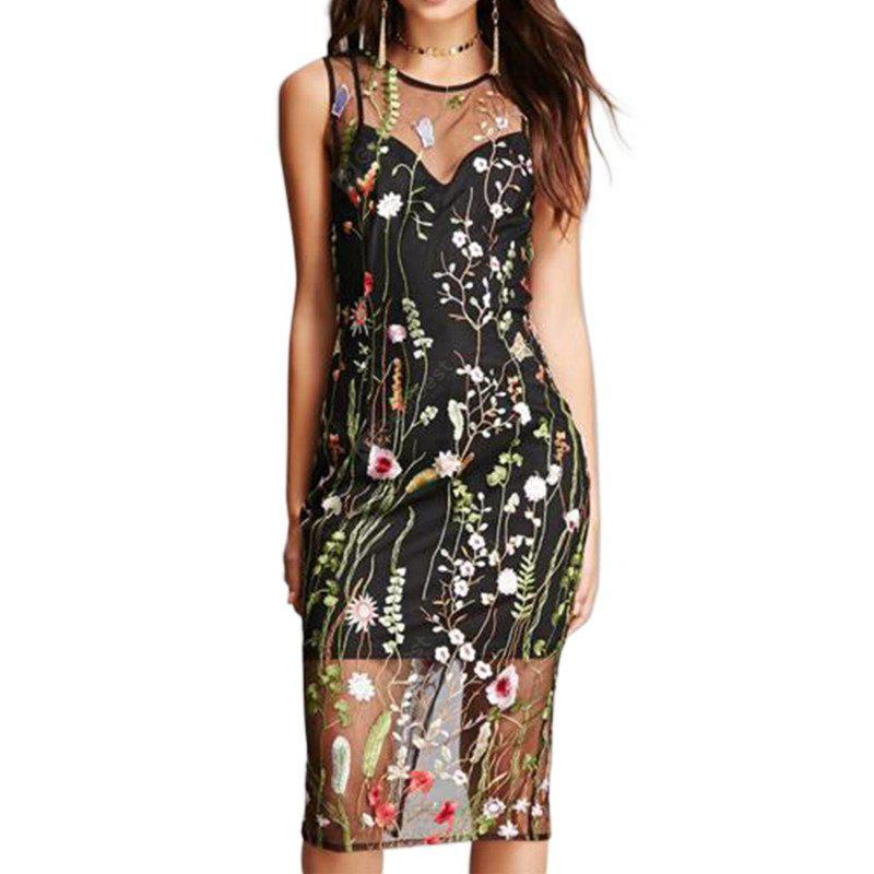 Hot Style Dress And European Women'S Long Water Grass Embroidery Dew Back Sexy Perspective Long Dress