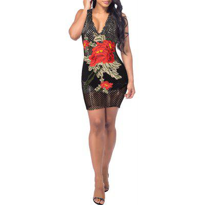 Hot style Women's Wear New Medium Long - embroidered Deep V Collar Sexy Dress