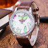 ZhouLianFa New Leather Strap Diamond Luxury Crocodile Pattern Ladies Sport Quartz Watch - BROWNIE