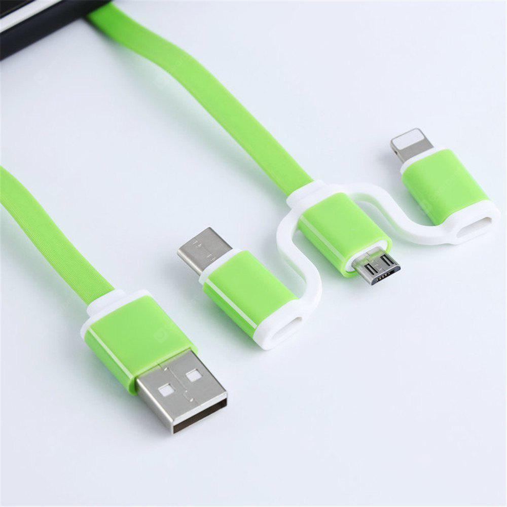 3 1 Fast Charger Line Suitable Apple Android Type-C GREEN