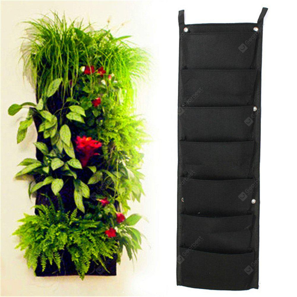 7-POCKET Outdoor Vertical Gardening Flower Pots and Planter Hanging Pots Planter On Wall BLACK
