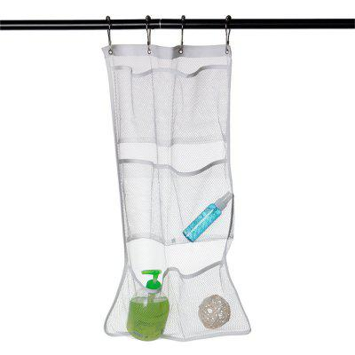 Modern Design Popluar High Quality Bathroom Save Space Tub Shower Hanging Mesh Organizer 6 Pockets with 4 Metal Buckles