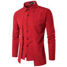 Men'S Spring and Autumn Leave Two Personality Double-Breasted Solid Color Fashion Casual Shirt Long-Sleeved Shirt