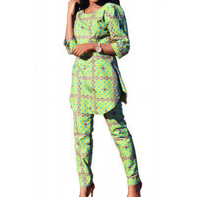 Lattice Printing Long Sleeve Jacket and Trousers