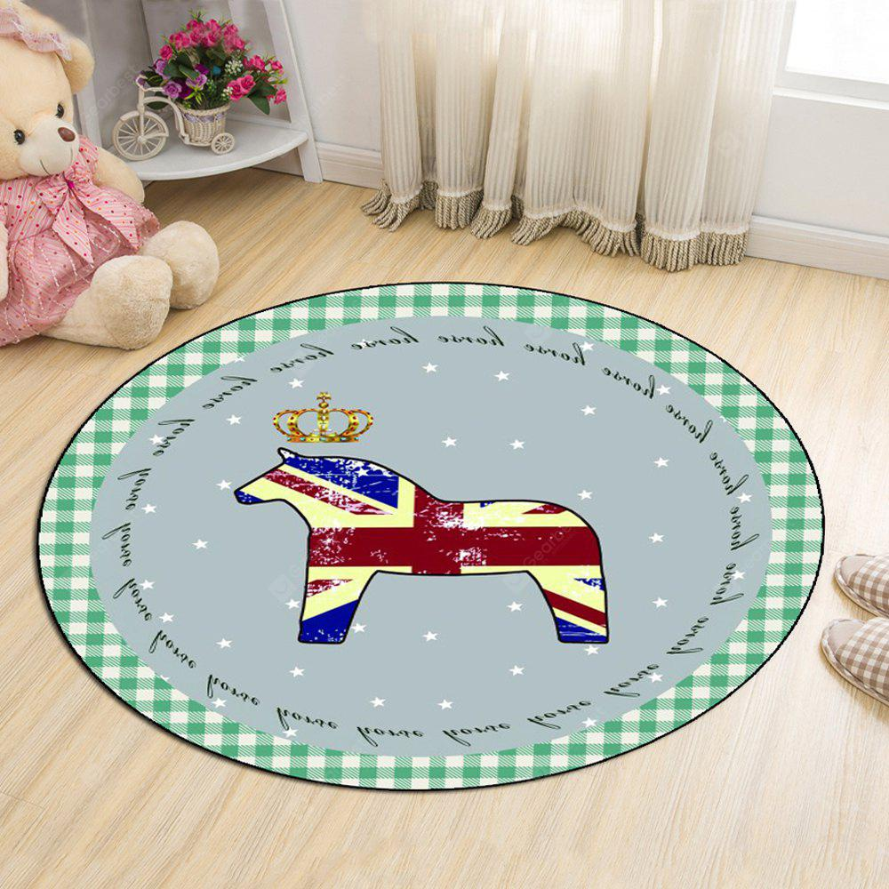 Round Rug Home Decorative Cute Horse Pattern Protective Floor Mat