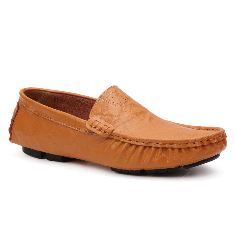Men Leather Large Size Bean Shoes Comfortable Breathable Driving Shoes Fashion Casual Shoes BROWN
