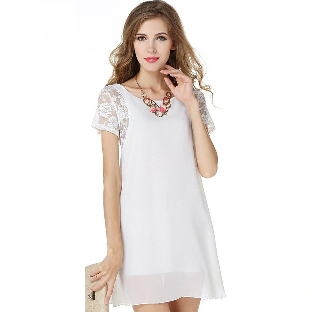 Ladies Summer White Chiffon Dress with Lace