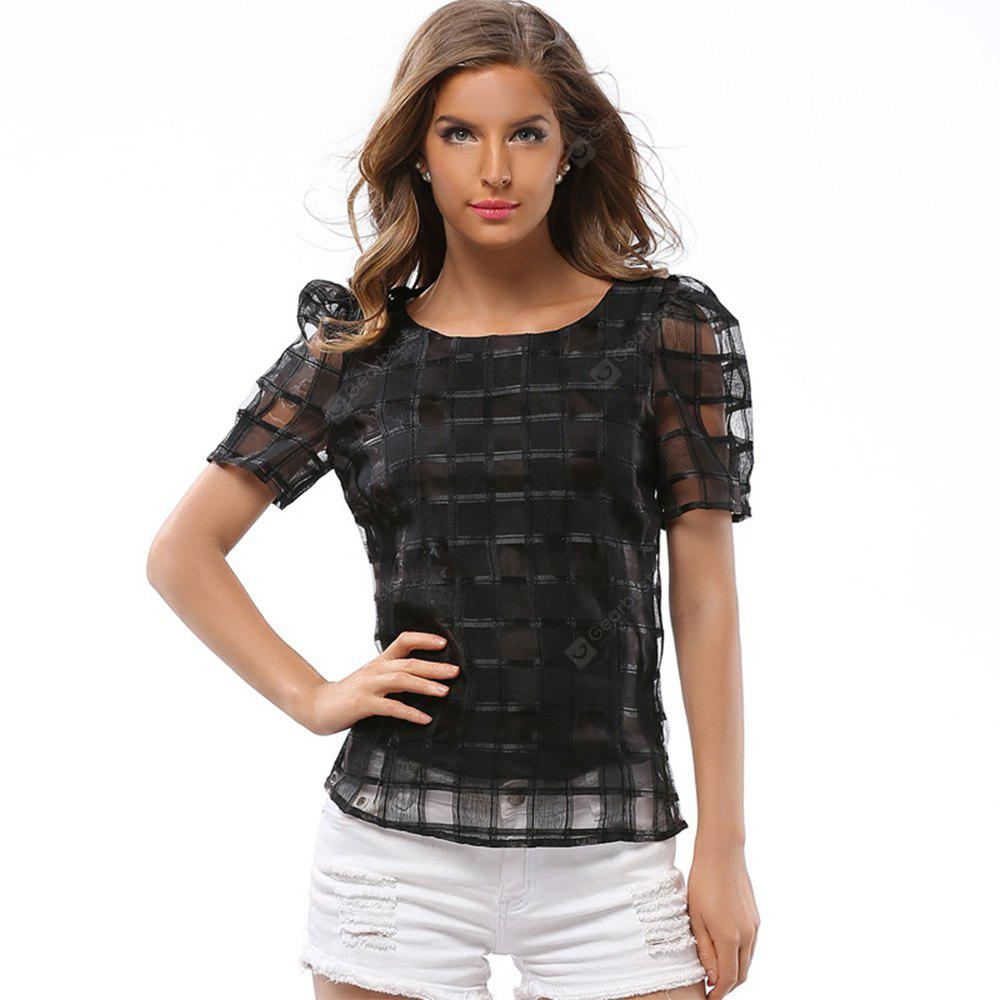 Women's Summer Black White T-shirts Female Spring Tops Fashion Short Sleeves Hollow Out T-shirt