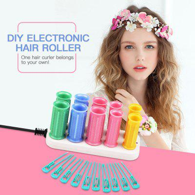 A One-off Effect Ceramic Electric Hair Curling Iron Thermostat 2 Size Hair Curler Roller Sticks Set Styling Tool Home Travel Use