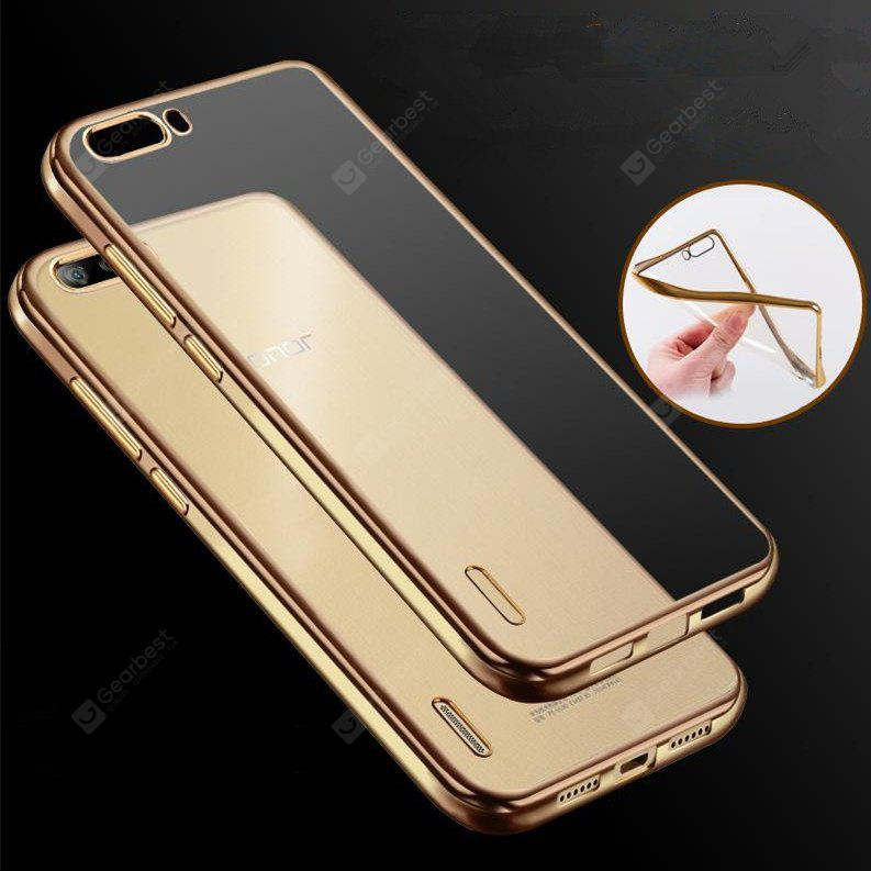 Soft Silicone Plating Clear Gilded Frame TPU Case for Huawei Honor 6 Plus